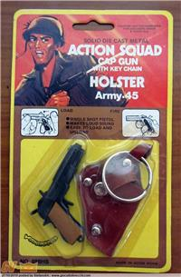 ACTION SQUAD SOLID DIE CAST METAL CAP GUN WITH KEY CHAN HOLSTER ARMY 45 BLISTER
