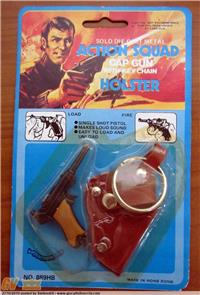 ACTION SQUAD SOLID DIE CAST METAL CAP GUN WITH KEY CHAN HOLSTER BLISTER