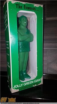 IL GIGANTE VERDE SPOT TV ANNI 70 THE JOLLY GREEN GIANT 1970`S VINYL ADVERTISING FIGURE DOLL 23 CM
